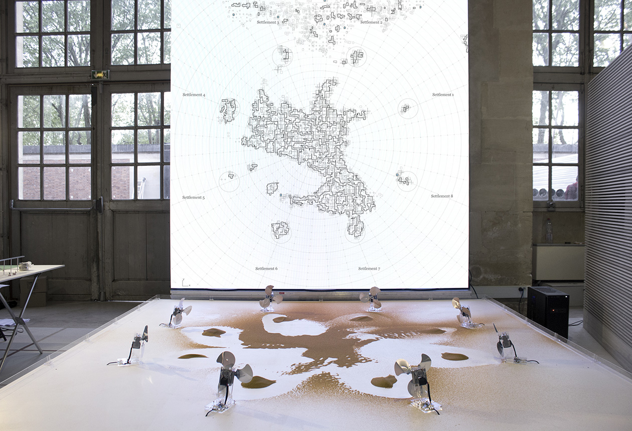 Computational drawing experiment with fans and sand at BAP 2019 (Architecture and landscape Biennial Versailles) by Machinic Protocols