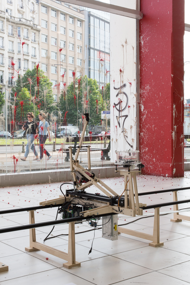 Computational drawing experiment with wood catapult and ink balls at Kanal, Centre Pompidou, Brussels, 2019 by Machinic Protocols