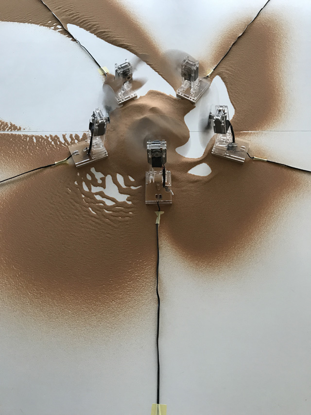 Computational drawing experiment with fans and sand at Misk Art Institute, Riyadh, Saudi Arabia, 2019 by Machinic Protocols