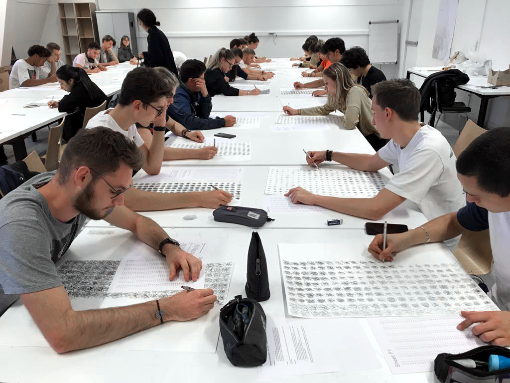 Collective drawing experiment at the EPFL, 2020, in collaboration with Machinic Protocols