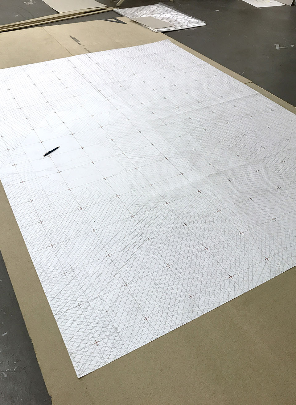 Computational drawing experiment with robotic painting at the Bergen School of Architecture in collaboration with Machinic Protocols